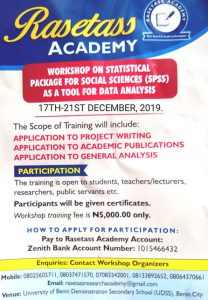 Workshop on Statistical Package for Social Science (SPSS) As a Tool for Data Analysis