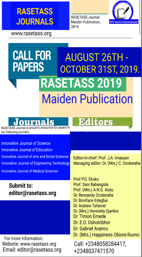 Announcement on call for papers. Kindly share with colleagues/friends.